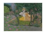 Krishna and Radha Embracing in a Grove, Kangra, Himachal Pradesh, Pahari School, circa 1785 Giclee Print