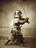 Samurai with Raised Sword, circa 1860 Stampa giclée di Felice Beato