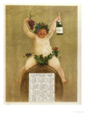 Promotional Calendar for Pfungst Freres Champagne, Illustrating Bacchus Seated on a Barrel Giclee Print by Jan van Beers