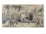 Native Village in Tahiti, circa 1841-48 Giclee Print by Maximilien Radiguet