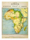 Una Mapa de África para ilustrarviajes de David Livingstone Lámina giclée