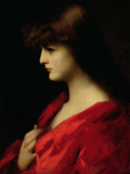 Study of a Woman in Red, Early 1890s Giclee Print by Jean-Jacques Henner