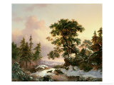 Wolves in a Winter Landscape Giclee Print by Frederik Marianus Kruseman