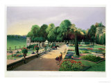 "The Upper and Lower Terrace Gardens at Bowood, from ""Gardens of England,"" Published 1857 Giclee Print by E. Adveno Brooke"