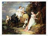 Portraits of the Children of the Rev.Joseph Arkwright of Mark Hall, Essex, 1826 Giclee Print by John Hayter