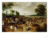 The Battle Between Officers Breaute and Gerard Abrahamsz Called Lekkerbeetje at Vught Giclée-Druck von Sebastian Vrancx