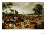 The Battle Between Officers Breaute and Gerard Abrahamsz Called Lekkerbeetje at Vught Giclee Print by Sebastian Vrancx