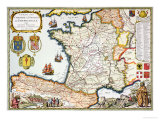 Reproduction of Map of Routes of St. James of Compostel, Originally Giclee Print