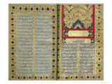 Illuminated Pages from a Manuscript of Hafez, Zand Period Style, 1790 Giclee Print