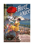 Winter in Nice, Poster Advertising P.L.M Trains Reproduction procédé giclée par Hugo D' Alesi