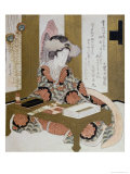 The Poetess, Bijin, at Her Calligraphy Table Giclee Print by Yashima Gakutei