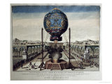 View of the Montgolfier Brothers' Balloon Experiment in the Garden of M. Reveillon Giclee Print by Claude Louis Desrais