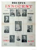 Dreyfus Est Innocent', Poster with the Portraits of His Defenders, Late 19th Century, Giclee Print