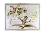Caricature of Charles Darwin and Emile Littre Depicting Them as Performing Monkeys at a Circus Premium Giclee Print by André Gill