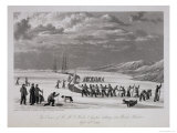 The Crews of H.M.S. Hecla & Griper Cutting into Winter Harbour, September 26th 1819 Giclee Print by William Westall