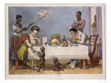 The Dinner, a White Couple Being Served and Fanned by Black Slaves Giclee Print by Jean Baptiste Debret