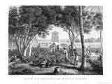 Island of Guam: Natives at Work in the Garden of the Governor's Palace Giclee Print by Pierre Antoine Marchais