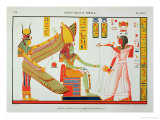 Ramesses IV (1153-1147 BC) Offering Incense to Isis and Amon-Re, Seated on a Throne Premium Giclee Print by Jean Francois Champollion