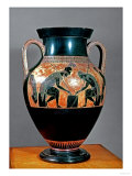 Amphora Decorated in Black-Figure Painting Signed by Exekias (c. 540 BC) Showing Ajax and Achilles Reproduction procédé giclée