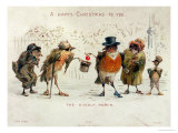 The Kindly Robin, Victorian Christmas Card Reproduction procédé giclée par Castell Brothers