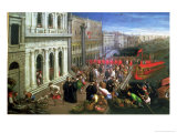 Riva Degli Schiavoni, Venice (Detail) Giclee Print by Leandro Da Ponte Bassano