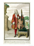 Gentleman Playing the Cello, Published circa 1688-90 Giclee Print by Jean Dieu De Saint-jean