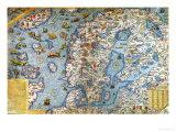 Pohjoismaat, yksityiskohta Olaus Magnuksen Carta Marinasta, 1572 Giclee-vedos tekijänä Antonio Lafreri