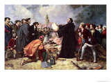 Martin Luther Burning the Papal Bull Giclee Print by Carl Friedrich Lessing