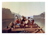 Ferrymen Playing Cards, 1847 Reproduction proc&#233;d&#233; gicl&#233;e par George Caleb Bingham
