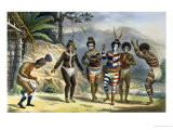 "Indians Dancing at the San Jose Mission, from ""Voyage Pittoresque Et Historique Au Bresil"" Giclee Print by Jean Baptiste Debret"