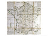 Map of France Divided into Provinces Reproduction procédé giclée par Cesar Francois Cassini De Thury