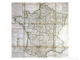 Map of France Divided into Provinces Reproduction procédé giclée par Cesar Francois Cassini De Thury