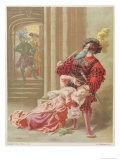 "Bluebeard Attempting to Kill His Last Wife, Fatima, Illustration from ""Contes De Ma Mere L'Oye"" Reproduction procédé giclée par Frédéric Théodore Lix"