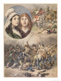 "The French Heroines, Felicite and Theophile De Fernig in 1792, from ""Le Petit Journal"" Reproduction procédé giclée par Frédéric Théodore Lix"