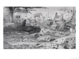 Adam and Eve and the Animals, 1841 Giclee Print by Edouard Travies