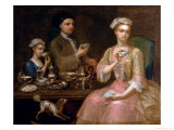 A Family of Three at Tea, circa 1727 Giclee Print by Johann Zoffany