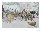 "Killing the Pig,"" Illustration for ""My Little Farm,"" Published in Sweden, 1904 Giclee Print by Carl Larsson"