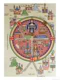 Map of Jerusalem and Palestine, Including the Sacred Sites and the Temple of Solomon Giclee Print