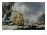 The Ship of Jules Dumont D'Urville Stuck in an Ice Floe in Antarctica Giclee Print by Louis Garneray
