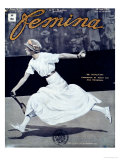 "Miss Broquedis, Olympic Tennis Champion, Front Cover of ""Femina,"" Issue 278, 15th August 1912 Giclée-tryk"