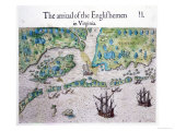 The Arrival of the Englishmen in Virginia Reproduction proc&#233;d&#233; gicl&#233;e par John White