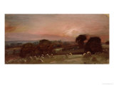 A Hayfield Near East Bergholt at Sunset Giclee Print by John Constable