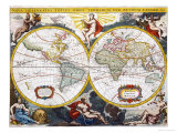 World Map, Early 18th Century Giclee Print by Pieter Van Der Aa
