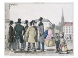 Elegant Men Wearing Scottish Trousers on the Streets of Vienna Giclee Print by  Lempis