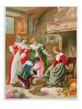Cinderella Trying on the Glass Slipper, from 'Les Contes De Perrault' (Chromolitho) Reproduction procédé giclée par Frederic Theodore Lix