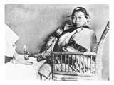 Chinese Woman Showing Her Uncovered Bound Foot Near an European Foot Giclee Print by John Thomson