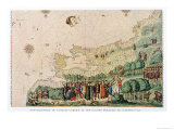 Jacques Cartier and French Colonists Disembarking at Quebec in 1542, Giclee Print