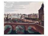The Pont Au Change and the Pont Notre Dame, circa 1815-20 (Detail) Giclee Print by Henri Courvoisier-Voisin