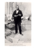 "Robert Koch in His Laboratory, from ""Le Monde Illustre,"" 29th November 1890 Premium Giclee Print"