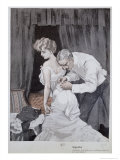 Suspicious Husband Observing the Alteration in the Tying of His Wife&#39;s Corset, 1909 Giclee Print by Ferdinand Van Reznicek